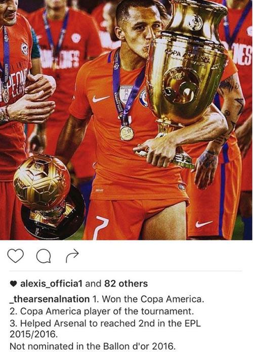 Arsenal: Sanchez đả kích danh hiệu Quả bóng vàng - 1