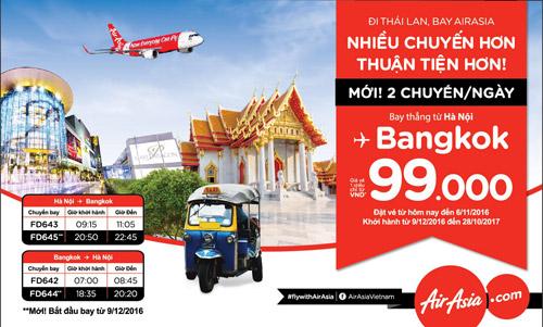 Airasia tăng tần suất bay từ Hà Nội đi Bangkok lên 2 chuyến/ ngày - 3