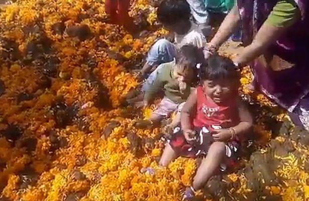 Ấn Độ: Mong điều tốt cho con, đem thả vào đống phân bò - 1