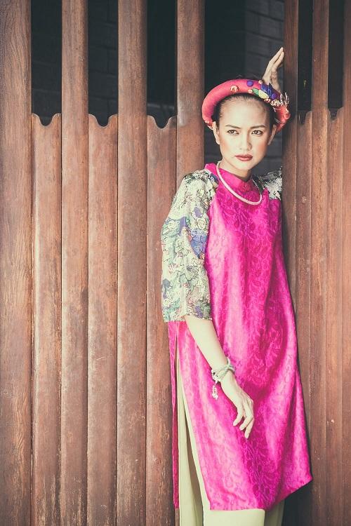Quán quân Next Top Ngọc Châu hút hồn với áo dài gấm lụa - 2