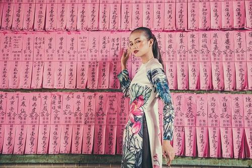 Quán quân Next Top Ngọc Châu hút hồn với áo dài gấm lụa - 8