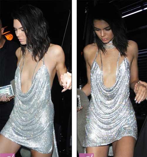 Kendall Jenner khoe ngực mini vẫn sexy với váy trễ nải - 2