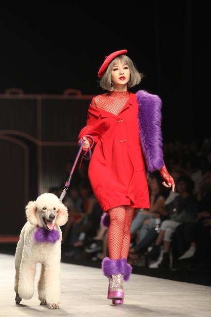 Chi Pu hờ hững vai trần dắt chó 1000 USD lên sàn catwalk - 2
