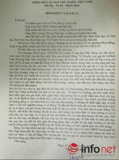Lời trần tình của cô giáo cho nam sinh tát nữ sinh vì tội chửi bậy - 1