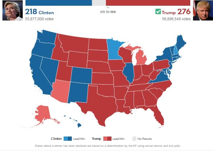 Địa chấn ở Mỹ: Trump thắng cử tổng thống, áp đảo Clinton - 3