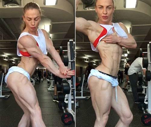 Choáng: Mỹ nhân thể hình và khối cơ bắp 100% không mỡ - 1