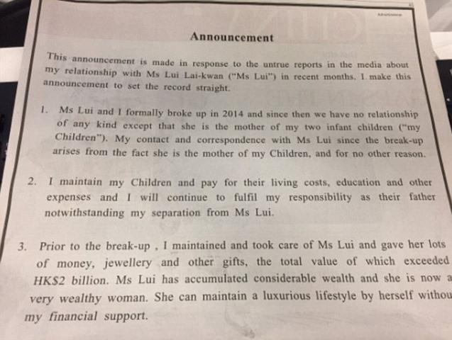 Chia tay vợ, tỉ phú Hong Kong tặng quà 8.800 tỉ - 2