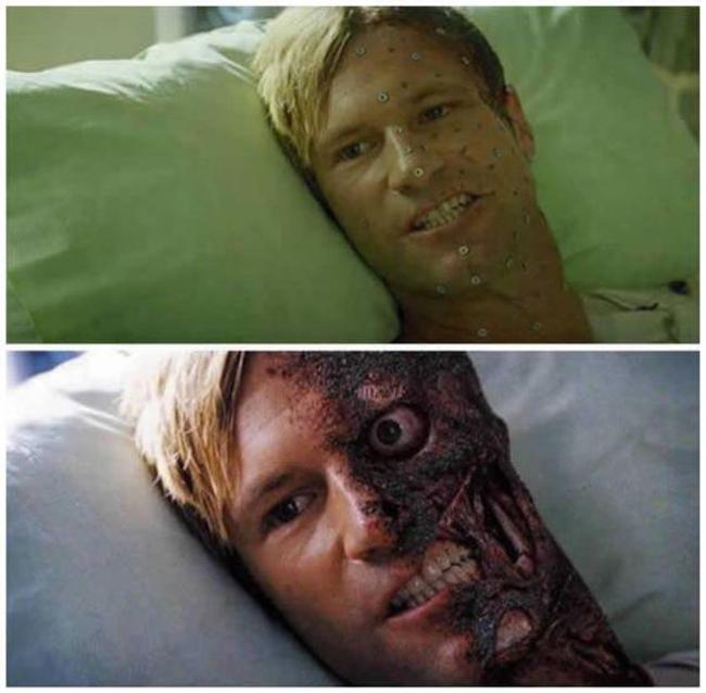 Kỹ xảo đã giúp tạo nên gương mặt cho nam diễn viên trong phim Dark Knight trở nên đáng sợ. Thoạt đầu khán giả lầm tưởng một nửa mặt trông biến dị là do cách trang điểm. Tuy nhiên thực tế mọi thứ trên trường quay đều bình thường. Một nửa gương mặt đã trở nên kinh dị nhờ vào công nghệ làm ảnh phía hậu kỳ.