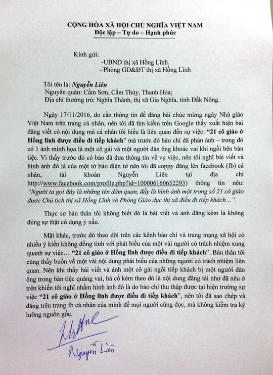 Xin giáo viên Hồng Lĩnh tha thứ vụ bịa đặt trên facebook - 1