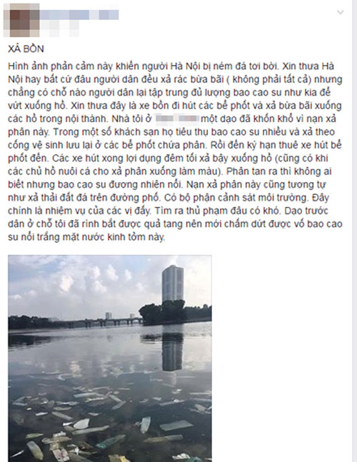 Điều tra nguyên nhân bao cao su nổi trắng hồ Linh Đàm - 2