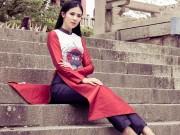 Thời trang - HH Ngọc Hân khoe vẻ kiều diễm với áo dài in họa tiết lạ