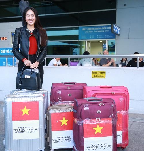 Hoa khôi Diệu Ngọc mang 100kg hành lý đi thi Miss World - 7