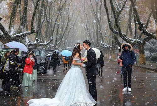 Co ro trong tuyết lạnh để chụp ảnh cưới đẹp tuyệt vời - 1