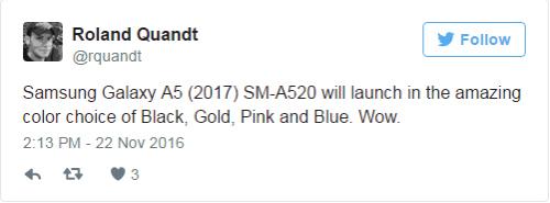 Samsung Galaxy A5 (2017) sẽ có 4 tùy chọn màu - 1