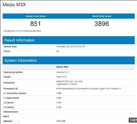 Meizu M3X và Meizu Pro 6 Plus lộ thông số trên GeekBench - 1