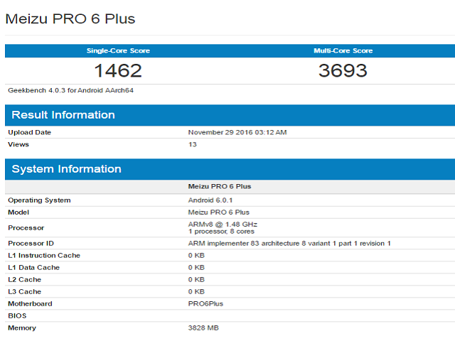 Meizu M3X và Meizu Pro 6 Plus lộ thông số trên GeekBench - 2