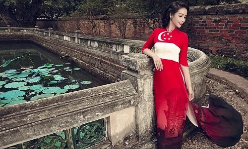 Mai Thu Huyền gây ấn tượng với áo dài họa tiết di sản - 3