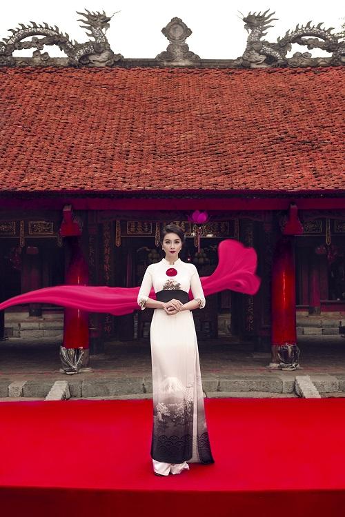 Mai Thu Huyền gây ấn tượng với áo dài họa tiết di sản - 6