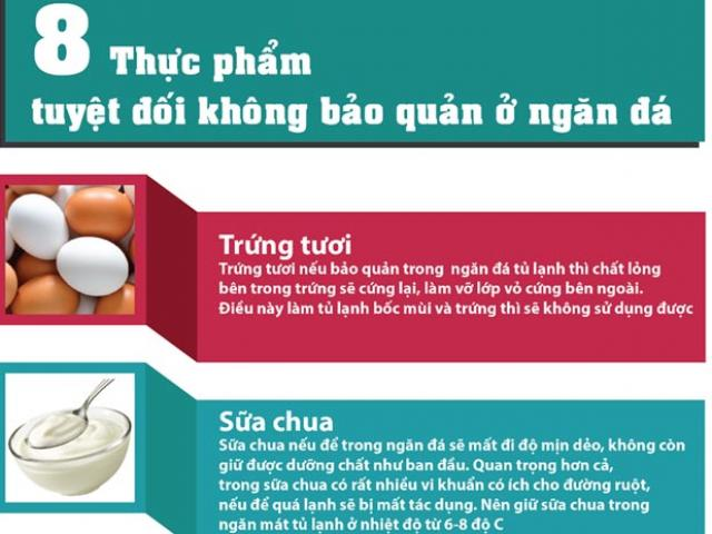 Sức khỏe đời sống - Infographic: 8 thực phẩm tuyệt đối không để ở ngăn đá