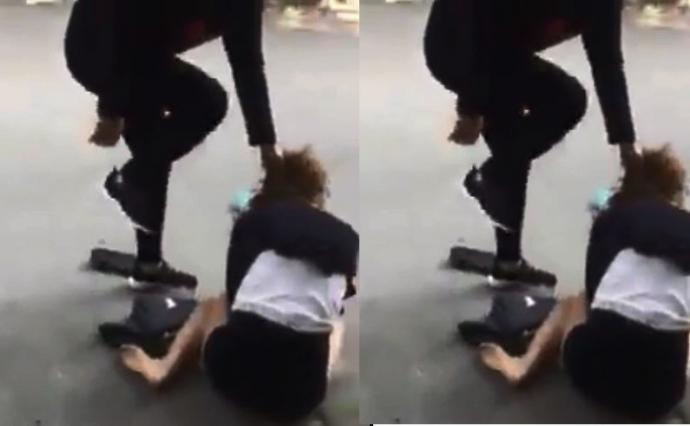 Nữ nhân viên bảo hiểm bị đánh ghen, bắt quỳ giữa phố - 1