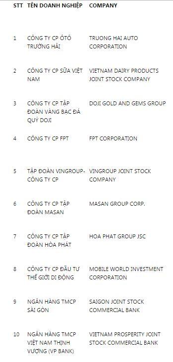 Top 10 DN Nhà nước và tư nhân lớn nhất Việt Nam 2016 - 1