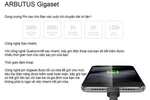 ARBUTUS GIGASET - Chip Qualcomm 8 nhân, Ram 3G giá chỉ 2,9 triệu đồng - 3