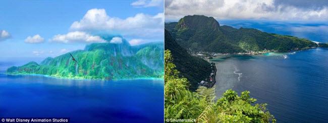 Nếu bạn muốn đi chân trần trên bãi cát trắng, lặn ống thở khám phá rạn san hô hay đắm mình trong hồ nước trong xanh, thì hòn đảo Samoa (phải) có thể là sự lựa chọn lý tưởng. Nơi đây được lấy làm bối cảnh cho hòn đảo Moto Nui (trái) trong bộ phim hoạt hình Moana.