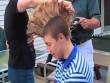 Dùng cưa máy để cắt tóc cho con trai