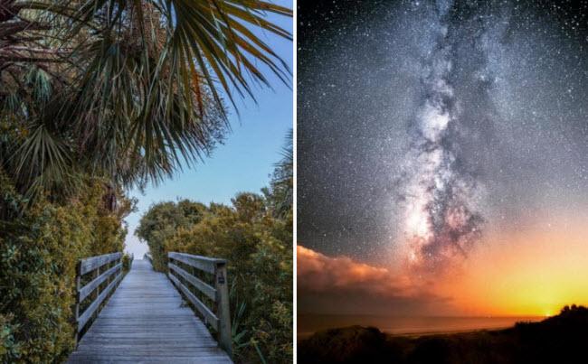 Đảo Kiawah, South Carolina: Cách thành phố khoảng 1 giờ di chuyển, đảo Kiawah gây ấn tượng với cảnh hoàng hôn đẹp nhất nước Mỹ và bầu trời đêm đầy sao.