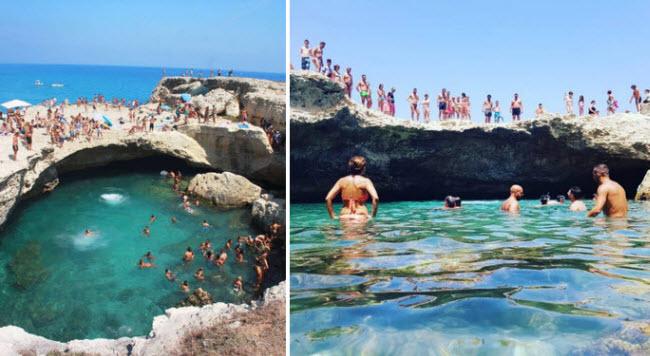 Grotta Della Poesia, Roca Vecchia, Italia: Nằm trên bờ biển Adriatic, hố Grotta Della Poesia là địa điểm lý tưởng để tắm mát dưới trời nắng ở vùng Địa Trung Hải.
