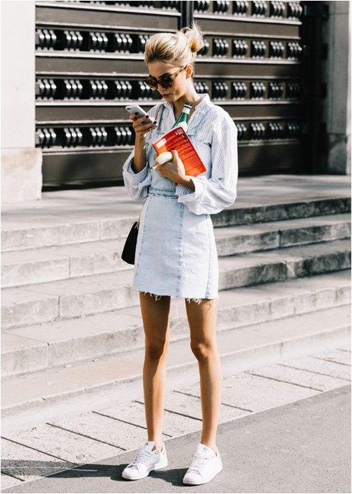 Thu này, hãy diện váy bò theo phong cách thật giản đơn nhé! - 1