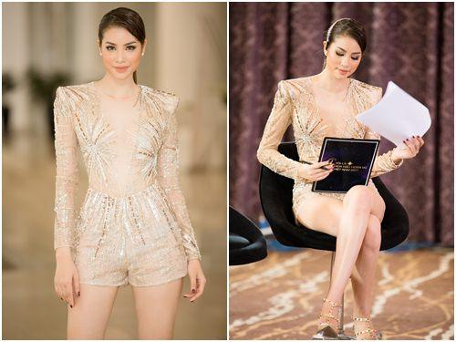 Huyền My quá sexy khi mặc lại đồ siêu ngắn của Phạm Hương - 2