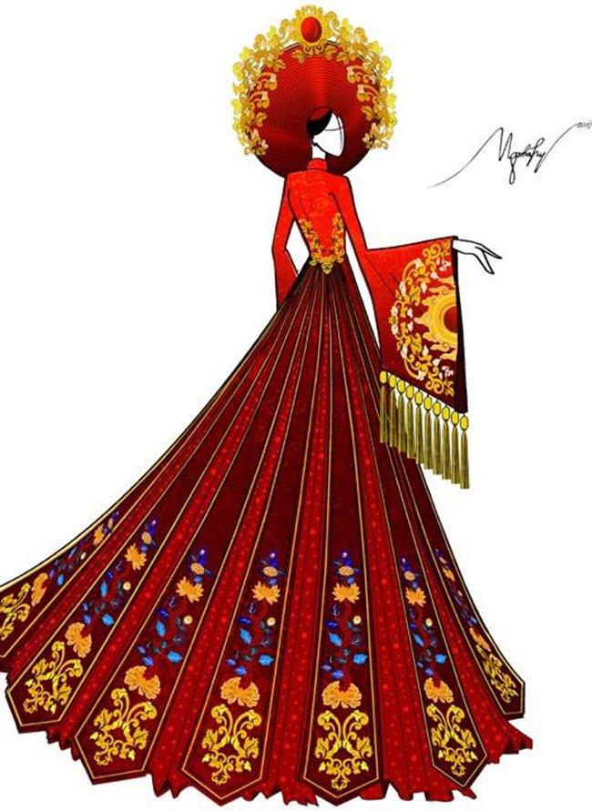 Lộ trang phục dân tộc của Huyền My ở Hoa hậu Hòa bình 2017 - 2
