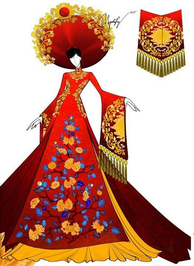 Lộ trang phục dân tộc của Huyền My ở Hoa hậu Hòa bình 2017 - 3