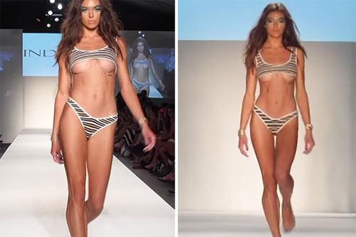 Thót tim vì người mẫu mặc bikini ngắn khó tin khi diễn - 2