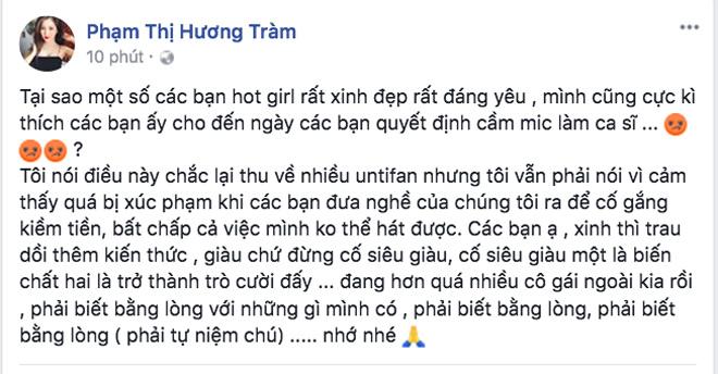 """Hương Tràm lên tiếng sau status bị nghi """"đá đểu"""" Chi Pu mang nghề hát kiếm tiền - 2"""