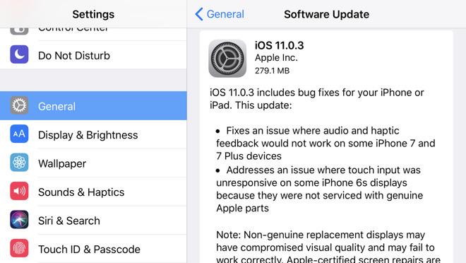 Bản cập nhật iOS 11.0.3 trình làng cho iPhone bị loạn cảm ứng - 1