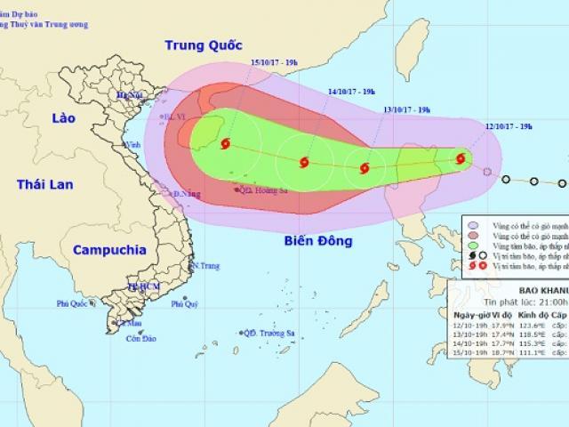 Bão giật cấp 10 tăng tốc, hướng vào Biển Đông