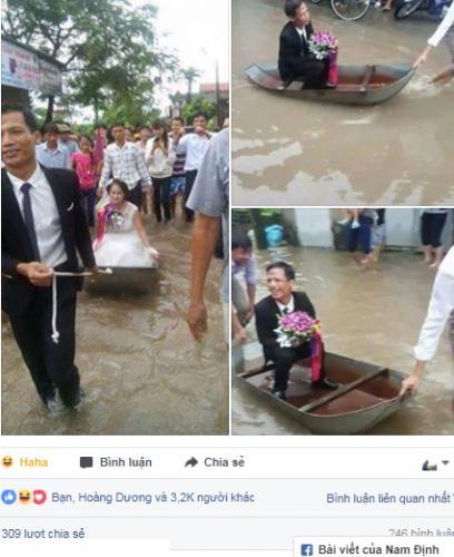 Cô dâu lội nước theo chồng về dinh ở Nghệ An mùa bão - 3