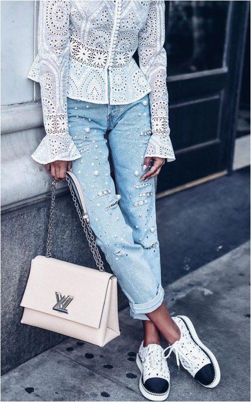 Quần jeans đính ngọc trai - không chỉ dành cho nàng bánh bèo - 3