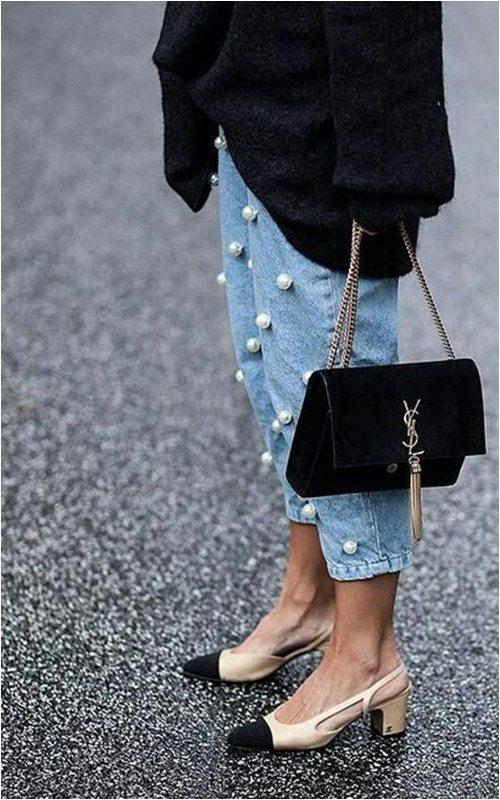 Quần jeans đính ngọc trai - không chỉ dành cho nàng bánh bèo - 1