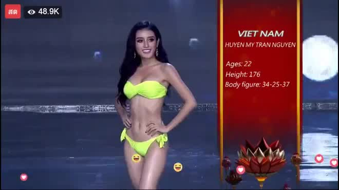 Huyền My nổi bật như nữ thần tại bán kết Hoa hậu Hòa bình