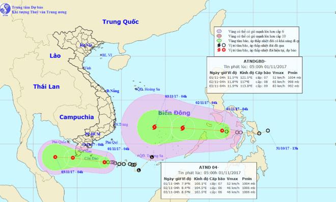 Bão và áp thấp nhiệt đới sắp cùng lúc hoành hành trên Biển Đông - 1