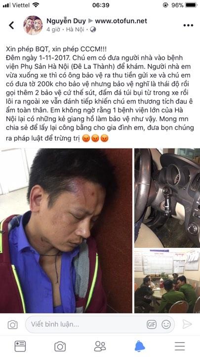 Người nhà tố bảo vệ bệnh viện phụ sản Hà Nội đánh người dã man - 1