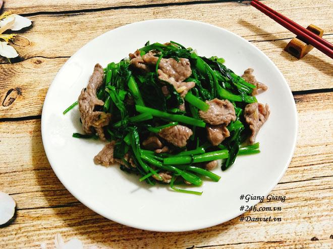 Chỉ cần làm cách này món thịt bò xào rau muống sẽ xanh giòn, mềm ngọt - 8
