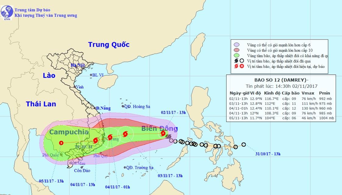 Bão số 12 có thể giật cấp 15, đổ bộ đất liền các tỉnh Nam Trung Bộ - 1