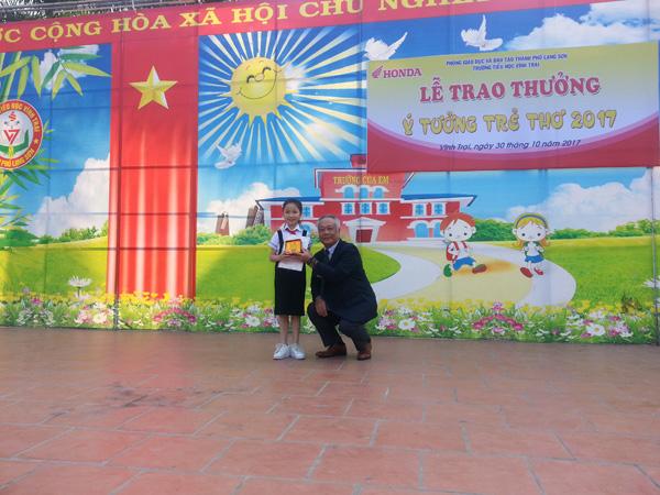Honda Việt Nam trao thưởng cho trường có thí sinh đạt giải Cuộc thi Ý tưởng Trẻ thơ 2017 - 3