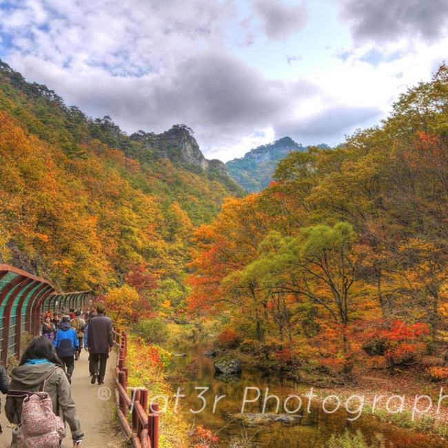 """Mùa thu Hàn Quốc đẹp nhất vào khoảng từ 25/10 đến 10/11, tức thời khắc giao mùa đẹp nhất trong năm ở xứ Kim Chi chỉ vỏn vẹn trong 2 tuần. Tùy từng nơi mà mùa thu đến nhanh hay chậm, do đó nếu bạn có ý định thưởng cho mình một chuyến du lịch sang đất nước xinh đẹp này thì bắt đầu từ hôm nay là vừa rồi đấy. Để có thể tận hưởng trọn vẹn cái đẹp của mùa thu Hàn Quốc ,thì những địa điểm dưới đây phải luôn là điểm dừng chân ưu tiên trên hành trình tìm đến  """" trái tim mùa thu """"  của bạn trên đất Hàn nhé. (Ảnh: Vườn Quốc gia Juwangsan nổi tiếng với những đỉnh núi đá, vực sâu và bờ hồ tuyệt đẹp)"""