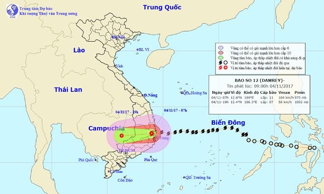 Bản tin thời tiết 9h30: Bão số 12 hoành hành đất liền, mưa to khắp nơi - 1