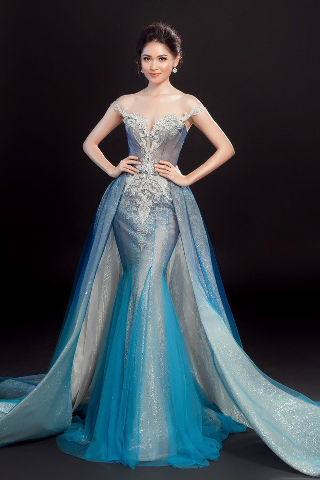 """Lộ váy dạ hội """"đụng hàng"""" Huyền My của Thùy Dung tại HH Quốc tế - 1"""